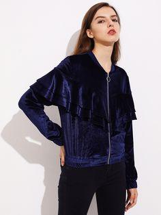 Layered Flounce Trim Velvet Jacket