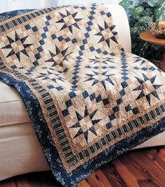 """Indigo Stars Quilt.  Finishes 59"""" sq.  Each Tri/Recs star block is 9"""", with alternate blocks shadows of the dominant block."""