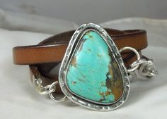 Turquoise and Leather Wrap Bracelet $135.00, via Etsy.