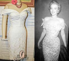 Marilyn Monroe-Short Wedding Dress- Pinup Wiggle Dress 1950s Lace Off Shoulder Style-CUSTOM made to order