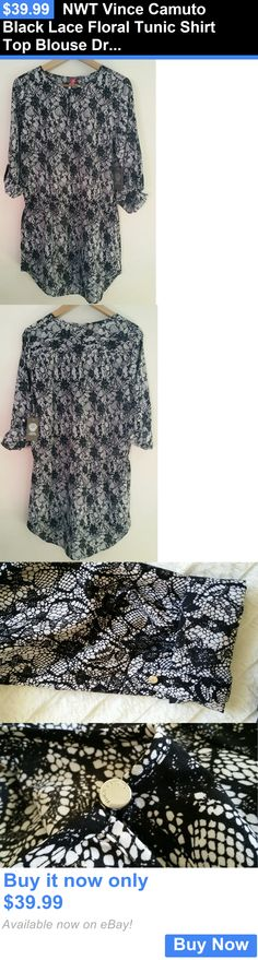 Women Fashion: Nwt Vince Camuto Black Lace Floral Tunic Shirt Top Blouse Dress S M L BUY IT NOW ONLY: $39.99