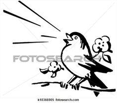 a, noir blanc, version, de, a, oiseau, séance, sur, a, branche arbre, chant Voir Illustration Grand Format