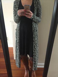 LuLaRoe Sarah Duster. Nicole dress. Patterned tights. Boots. #lularoe #ootd