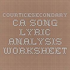 courticesecondary.ca - Song Lyric Analysis Worksheet