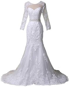 JAEDEN Elegant Lace Wedding Dresses for Bride with Long Sleeves Bridal Gown with Train White US2 * Learn more by visiting the image link.