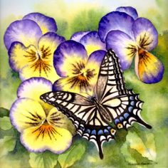 "Paintings Of Flowers And Butterflies | Flowers with Butterflies - II"", Watercolor 8""x8"""