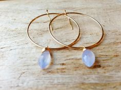 periwinkle chalcedony gold hoop earrings 14 by KimBloombergDesigns, $39.20