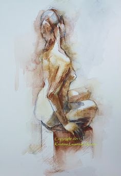 A beautiful print of an orriginal watercolor drawing, figure sketch, from the live nude female model. A beautiful pose with a delicate twist in her Figure Drawing Female, Figure Drawing Models, Figure Sketching, Figure Drawing Reference, Watercolor Drawing, Painting & Drawing, Watercolor Pencils, Life Drawing, Art Sketches