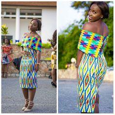 Kente Dress. Photo Source: I hear Fabrics Gh (on Facebook) Gorgeous Miss Ocran looking fab in her Kente designed by Jane Damaris | fabric provided by #idoelitelist @iheartfabricsgh #idoghana