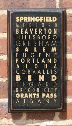 Antiqued Finish Cities of Oregon Subway Scroll Vintage Style Wall Plaque / Sign