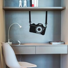 "Camera Wall Decal Modern Wall Decal - Modern wall decal that will spruce up any room in your home. - 100% vinyl wall decal - Installed dimension, as shown: 17"" x 20"" - Artist: Dezign - By ADzif"