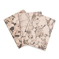 Beaucoup de pierre minérale de 3 cahiers - carnets marbrés de roses et noirs - blancs - STO6001