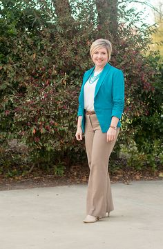 Work Outfit How to wear a colored blazer to work - Savvy Southern Chic How to wear a colored blazer