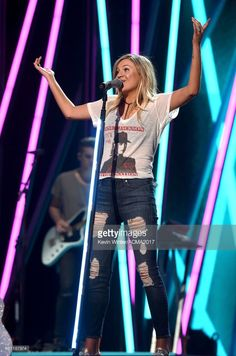 Singer/songwriter Kelsea Ballerini rehearses onstage during for the 52nd Academy Of Country Music Awards at T-Mobile Arena on March 30, 2017 in Las Vegas, Nevada.
