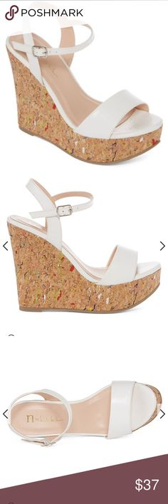 "❤️❤️ Nicole Miller wedge sandals ❤️❤️ Beautiful white Nicole Miller wedge sandals with confetti cork wedges. NWOT. Never worn. Heel 5"", platform 1.5"". Size 8. These are gorgeous, you'll love them! ❤️❤️❤️ Nicole Miller Shoes Sandals"