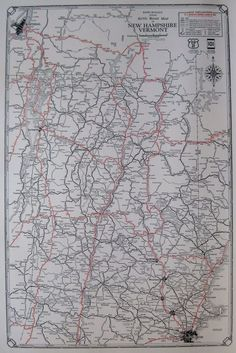 1931 RARE VERMONT Map NEW HAMPSHIRE Map Vintage Auto ROAD MAP - Never Folded!