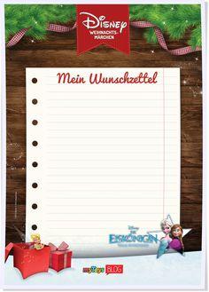 Schreiben Eure Kleinen schon selbst einen Wunschzettel für Weihnachten? Dann schaut doch mal die 7 praktischen Vorlagen zum Runterladen an, mit der Eiskönigin, Mikey Maus und den Disney-Prinzessinnen.