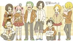 Usopp, Tashigi, Chopper, Perona, Zoro, Ace, Luffy, Nami and Sanji