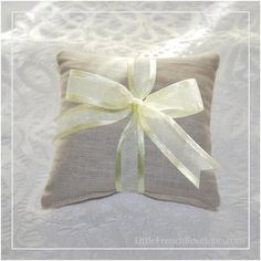Linen Lavender Pillow Sachet in Natural with Baby Maize Organza Ribbon with Satin Edges