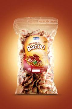 Embalagem desenvolvida para marca Bistella Alimentos. Novo produto de salgadinho de bacon.