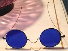 Syphillis glasses. Antique Spectacles with blue lens and wire frame by SparrowArte, $35.00