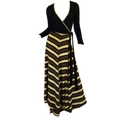 1970s Hand Loomed Striped Knit Maxi