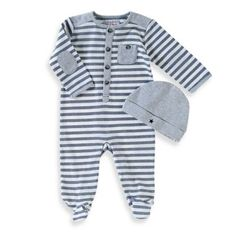 Uptown 2-Piece Striped Footed Coverall and Hat Set in Navy/Grey - buybuyBaby.com
