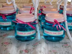 Bubbles as party favors. Made from baby food jars. What a great way to repurpose those glass jars.