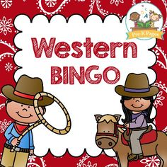 Western Bingo. Free printable bingo game for a western or cowboy theme in your preschool, pre-k, or kindergarten classroom. Includes both a black and white and a color version! - Pre-K Pages