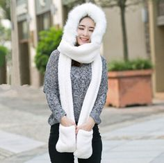 Warm plush hat scarf and gloves all in one for women