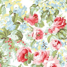 Rose Garden White Floral Fabric  Benartex Simply by Jambearies