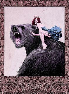 riding a bear WHEEEEE!
