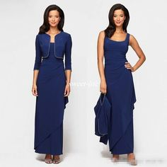 Modest Dark Navy Mother Of The Bride Dresses With Long Jacket Sheath Scoop Tiers Pleated Cheap Evening Formal Gowns Dress For Women 2016 Bride Of Mother Dress Cachet Mother Of The Bride Dresses From Whiteone, $116.84| Dhgate.Com