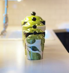 Canister Set  Pear Canister Set of Four  Colorful by romyandclare, $260.00