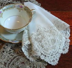 Em's Heart Antique Linens -Antique Linen Chemical Lace Wedding Hanky