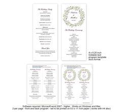 Floral berry wreath wedding programs diy by MyPrintablePaperie