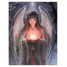 Fantasy Gothic Art Canvas Wall Plaque~Yule Angel~by Anne Stokes Anne Stokes, Angels Among Us, Angels And Demons, Gothic Shop, Ange Demon, Doreen Virtue, Angel Pictures, Angel Cards, Gif Animé