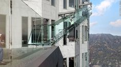 Open-air observation deck includes glass slide ft above downtown LA The Skyslide will be made made entirely of thick clear glass Los Angeles Skyscrapers, Us Bank Tower, Banks Building, Tower Building, Deck, Thing 1, Glass Floor, Building Exterior, Downtown Los Angeles