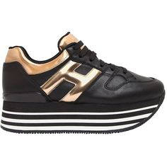 Hogan Women 70mm Maxi 222 Leather Sneakers (€440) ❤ liked on Polyvore featuring shoes, sneakers, leather shoes, metallic platform sneakers, platform sneakers, hogan sneakers and leather upper shoes