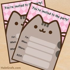 Free Printable Pusheen party invitation