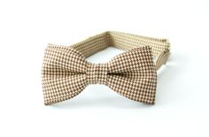 Mens bow tie by Bartek Design - groom wedding classic retro necktie chic gift ready to wear - houndstooth check  brown beige wool tweed on Etsy, $26.83