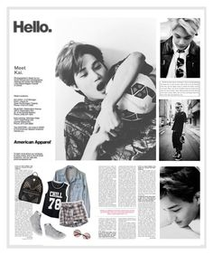 """""""Shang-Kai"""" by creamynoir ❤ liked on Polyvore featuring American Apparel, H&M, NIKE, MCM, kpop, hello, EXO and exonextdoor"""