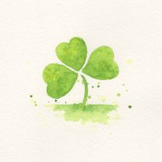 clover, clover painting, art, wall art, minimalist, watercolor, watercolor painting,  Green leaf original watercolor painting. $37.00, via Etsy.