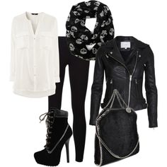 Leather and chains by killakim #polyvore #leatherjacket #fashion
