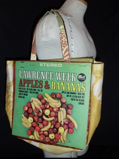 "Awesome Lawrence Welk ""Apples & Bananas"" original LP album cover reDesigned into a reTroToTe!  99% reCycled-reUsed-rePurposed... 100% reDesigned & reTro!  All hand designed and hand sewn.  $50.00 each."