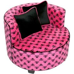 NEW & SEALED! Black Pink Skull Chair Air Room Dorm Kids Teen Bean Bag