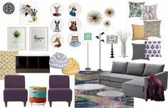 VA apartment: Revamp concept board.. tons of color. Great for family with kids.