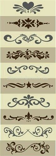 Stencils for crafts Silhouette Cameo, Silhouette Projects, Stencil Patterns, Stencil Designs, Motif Arabesque, Stencils, Diy And Crafts, Arts And Crafts, Vinyl Projects