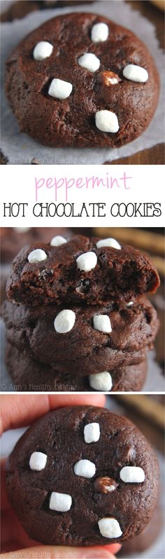 These skinny cookies don't taste healthy at all! Almost like brownies -- SO fudgy & rich. The mini marshmallows take them over the top!