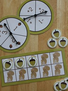 preschool kids enjoy feeding the squirrels as they play this ten frame game.  Fall math activity for pre-k, preschool, kindergarten, SPED, take home bags, and busy bags.